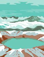 Katmai National Park and Preserve at Summit Crater Lake of Mount Katmai Alaska United States WPA Poster Art Color