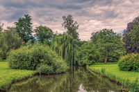 Summer Park canal pond landscape in Czech Republic