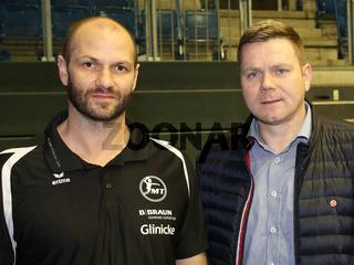 Cheftrainer Heiko Grimm und Manager Axel Geerken, beide MT Melsungen,  Liqui Moly HBL, Handball-Bundesliga Saison 2019-20