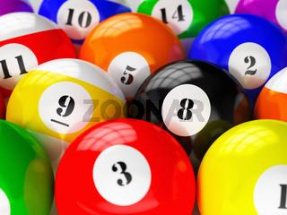 Set of billiard pool balls