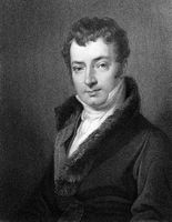 Washington Irving (1783-1859) on engraving from 1834. American author