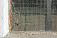 broken glass - broken safety glass with cracks