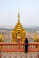 Female tourist at Wat Phra That Doi Phra Chan