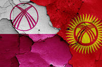 flags of Jalal-Abad and Kyrgyzstan painted on cracked wall