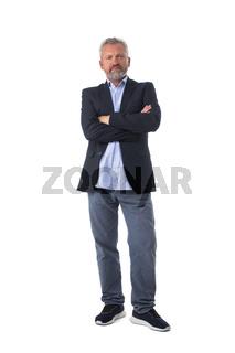 Senior business man portrait on white