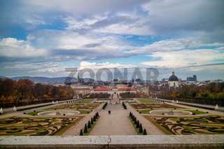 Landscaping view to Unteres Belvedere and regular parterre in Vienna.