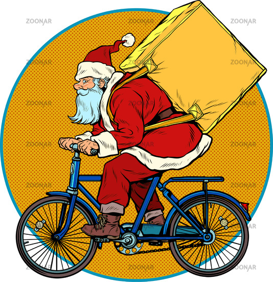 Christmas delivery of gifts and purchases. Santa Claus courier on a Bicycle