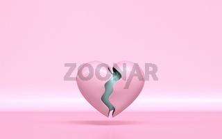 Broken pink heart with healthy core 3D