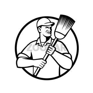 Street Sweeper Janitor or Cleaner Holding Broom Circle Retro Black and White