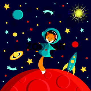 Fox in a spacesuit on a red planet. Moon, Sun, Saturn, Earth, other planets, rocket. Stars, comets, space