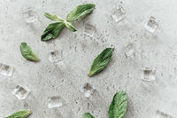 Mint leaves and ice cubes on table