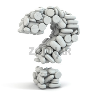 Pills as question. Medical concept. 3d