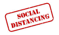 Social Distancing Rubber Stamp Vector