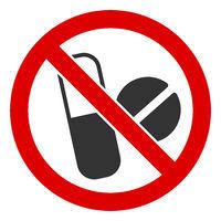 Flat Raster No Medical Pills Icon