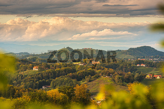 Vineyards in South Styria, beginning of autumn.