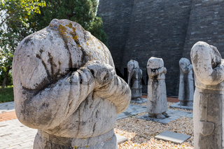 stone statues of foreign ambassadors in qianling mausoleum