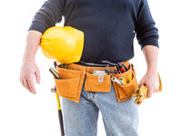 Contractor With Tool Belt, Hard Hat and Gloves Isolated on White Background