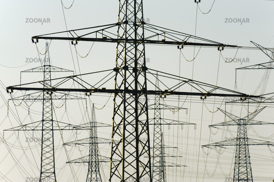 panorama view to many electric power poles