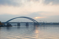 Podilskyi Bridge Dnipro river Kyiv