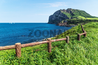 Grassfields with fence leading along the ocean and Ilchulbong in the background, Seongsan, Jeju Island, South Korea