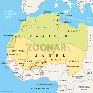 Maghreb und Sahel Landkarte