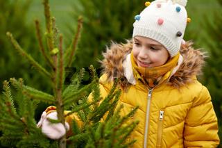 little girl choosing christmas tree at market