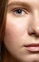 Closeup macro shot of human female face.