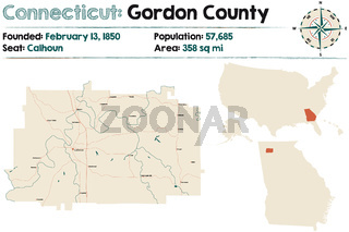 Large and detailed map of Gordon county in Georgia, USA.