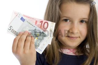sechsjähriges Mädchen mit Geldscheinen (mr)