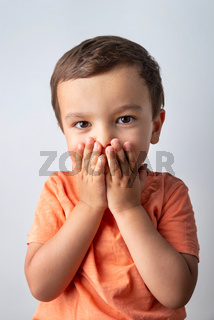Cute three year old boy portrait