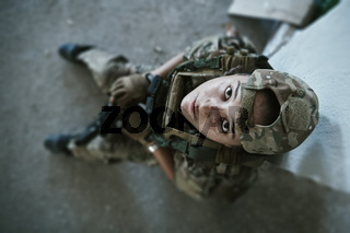 military female soldier having a break