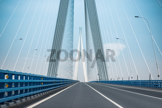 road and cable-stayed bridge background