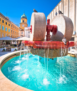 Rijeka square and fountain view with clock tower gate, 2020 Europe capital of culture
