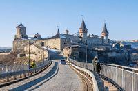 Castle bridge to Kamianets-Podilskyi fortress, Ukraine