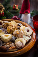 Assortment of homemade Christmas cookies with ornaments