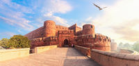 Red Fort Agra, India, beautiful sunrise panorama