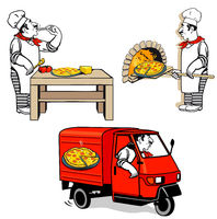 Pizza Chef - Pizza Delivery, Vector Illustration