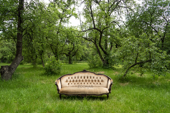 Empty green garden with large luxury sofa at grass in the centre outdoors