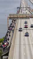 Protesters Walk Across the Interstate Floating Bridge Crossing Lake Washington BLM March Seattle