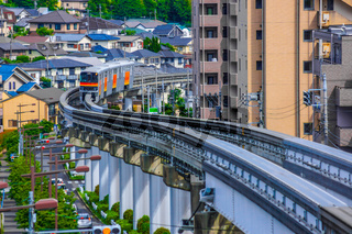 Tama monorail which runs a residential area