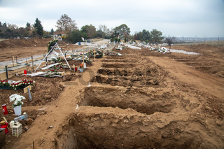 Tens new graves of Covid-19 victims in a cemetery in Evosmos, Thessaloniki