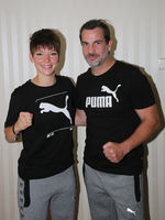 Boxing European featherweight champion Nina Meinke SES-Boxing with Coach Kay Huste 18.7.20 Magdeburg