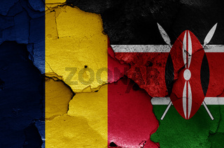 flags of Chad and Kenya painted on cracked wall