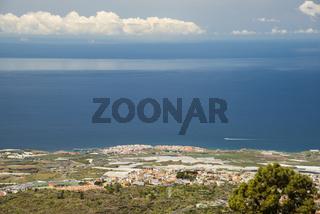 Panorama vom Mirador de Chirche über Guia de Isora und Playa de San Juan auf die Westküste, Teneriffa, Kanarische Inseln, Spanien, Europa