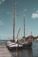 Harbor with flatboat sailors in Fedderwardersiel