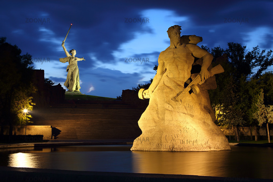 Monument Stay to Death at night in Volgograd