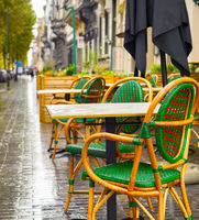 street restaurant rain Brussels, Belgium