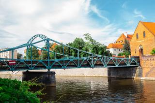 Most Tumski bridge and Ostrow Tumski Cathedral island in Wroclaw, Poland