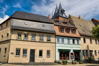 Delitzsch, Germany - June 19, 2019 - old houses on the market square
