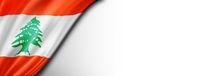 Lebanese flag isolated on white banner